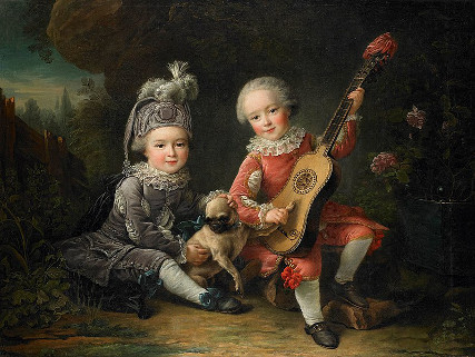 François-Hubert Drouais: Children of the Marquis de Béthune Playing with a Dog (1761)
