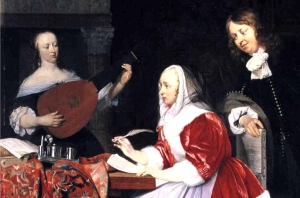 Gabriel Metsu - A Young Woman Composing Music and a Curious Man